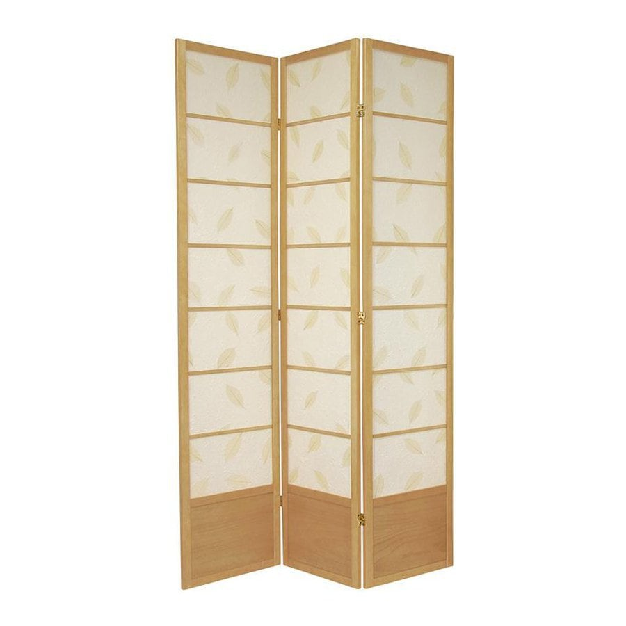 Oriental Furniture Botanic 3-Panel Natural Wood and Paper Folding Indoor Privacy Screen