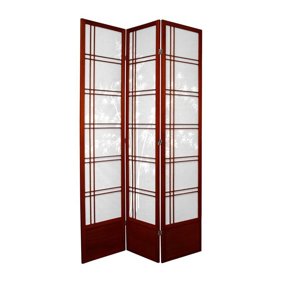 Oriental Furniture Bamboo Tree 3-Panel Rosewood Wood and Paper Folding Indoor Privacy Screen