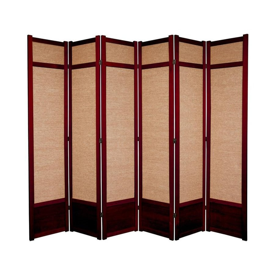 Oriental Furniture Jute 6-Panel Rosewood Wood and Fabric Folding Indoor Privacy Screen
