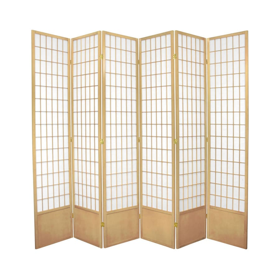 Oriental Furniture Window Pane 6-Panel Natural Wood and Paper Folding Indoor Privacy Screen