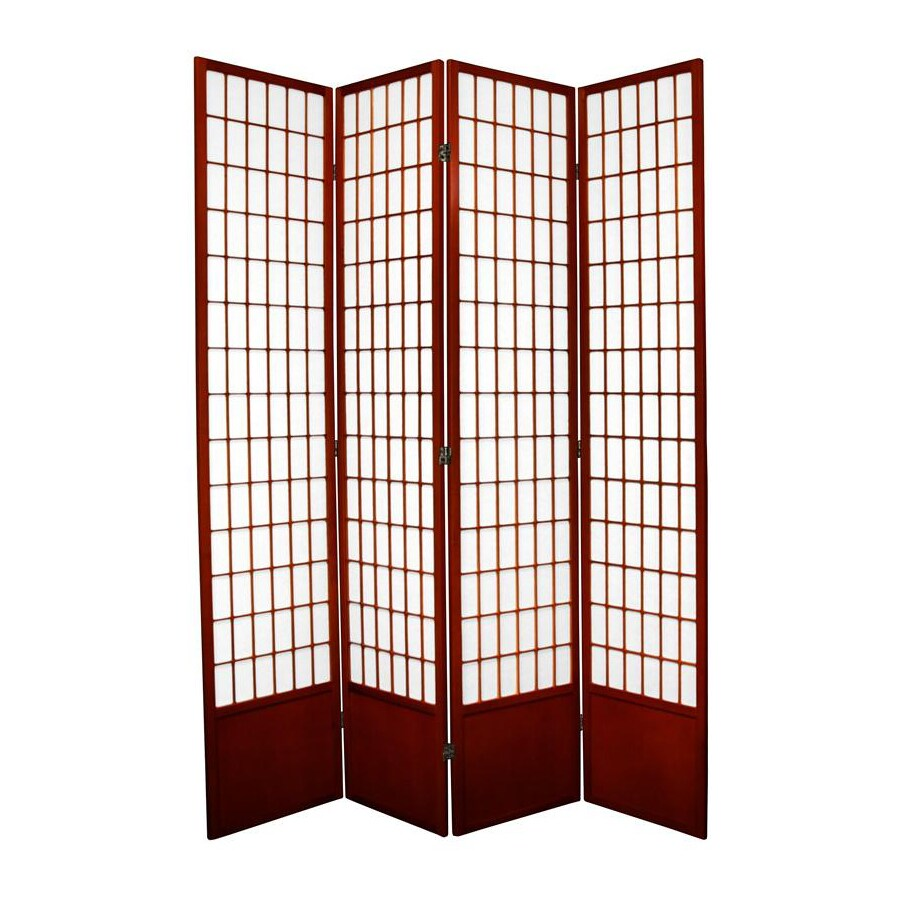 Oriental Furniture Window Pane 4-Panel Rosewood Wood and Paper Folding Indoor Privacy Screen