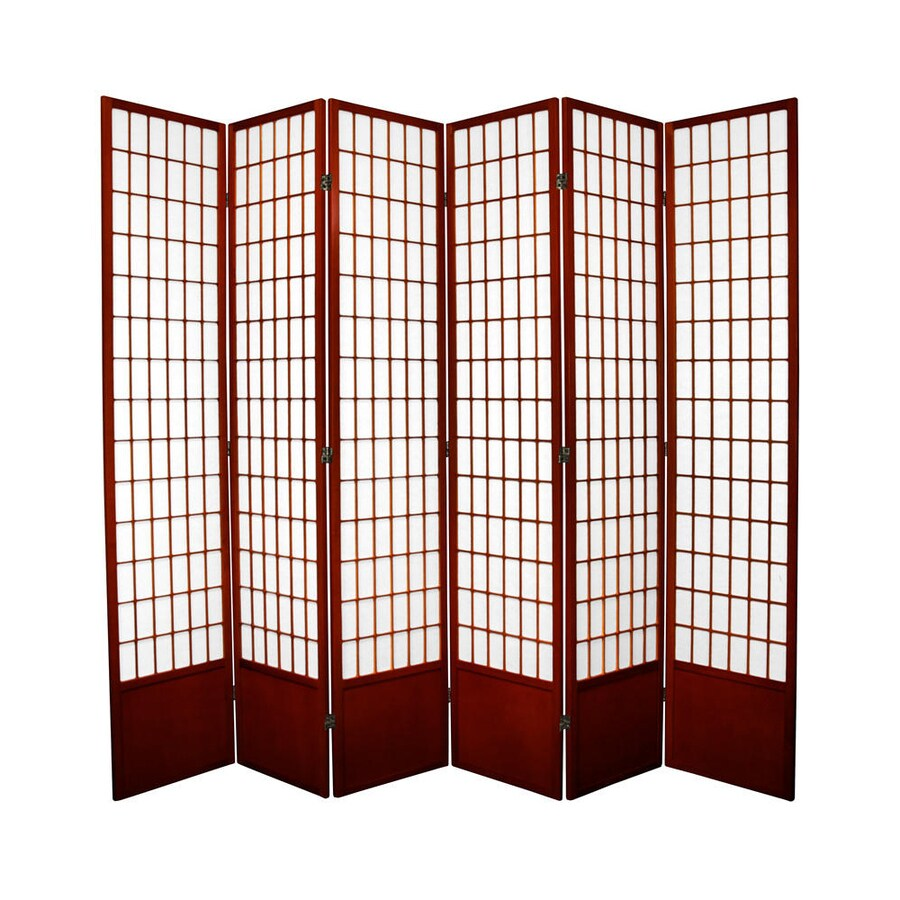 Oriental Furniture Window Pane 6-Panel Rosewood Wood and Paper Folding Indoor Privacy Screen