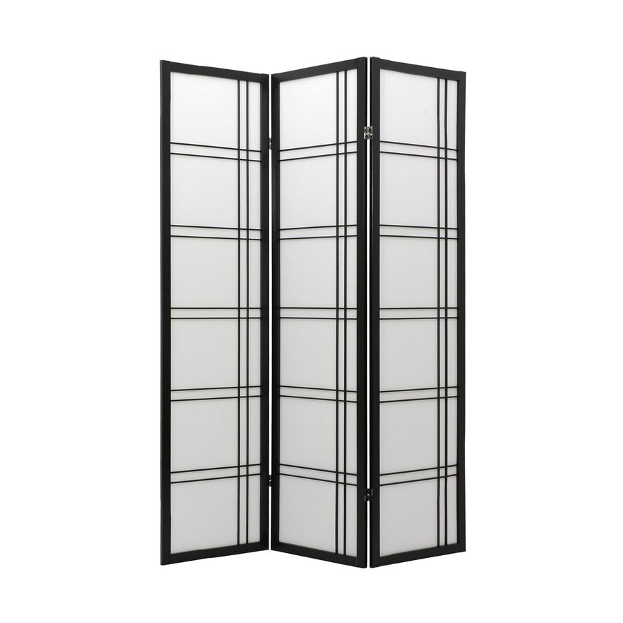 Oriental Furniture Double Cross 3-Panel Black Wood and Paper Folding Indoor Privacy Screen