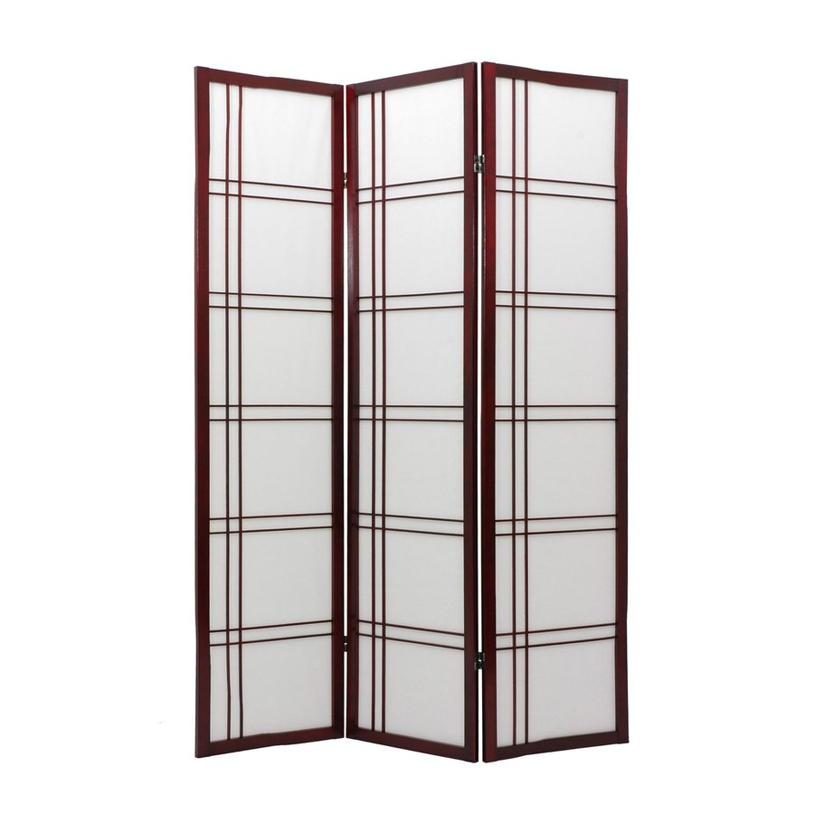 Oriental Furniture Double Cross 3-Panel Rosewood Wood and Paper Folding Indoor Privacy Screen