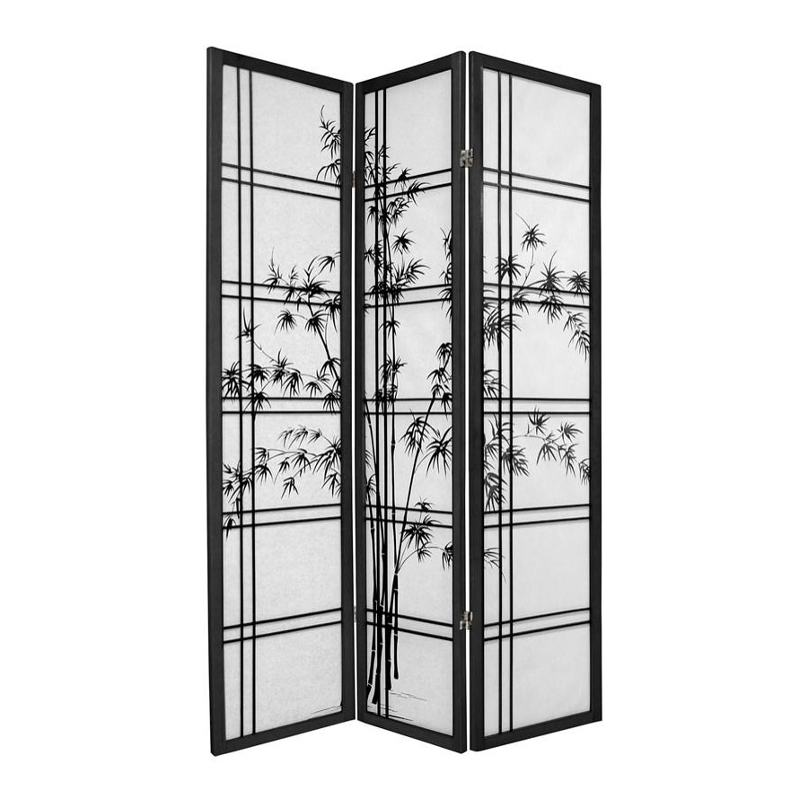 Oriental Furniture Bamboo Tree 3-Panel Black Wood and Paper Folding Indoor Privacy Screen