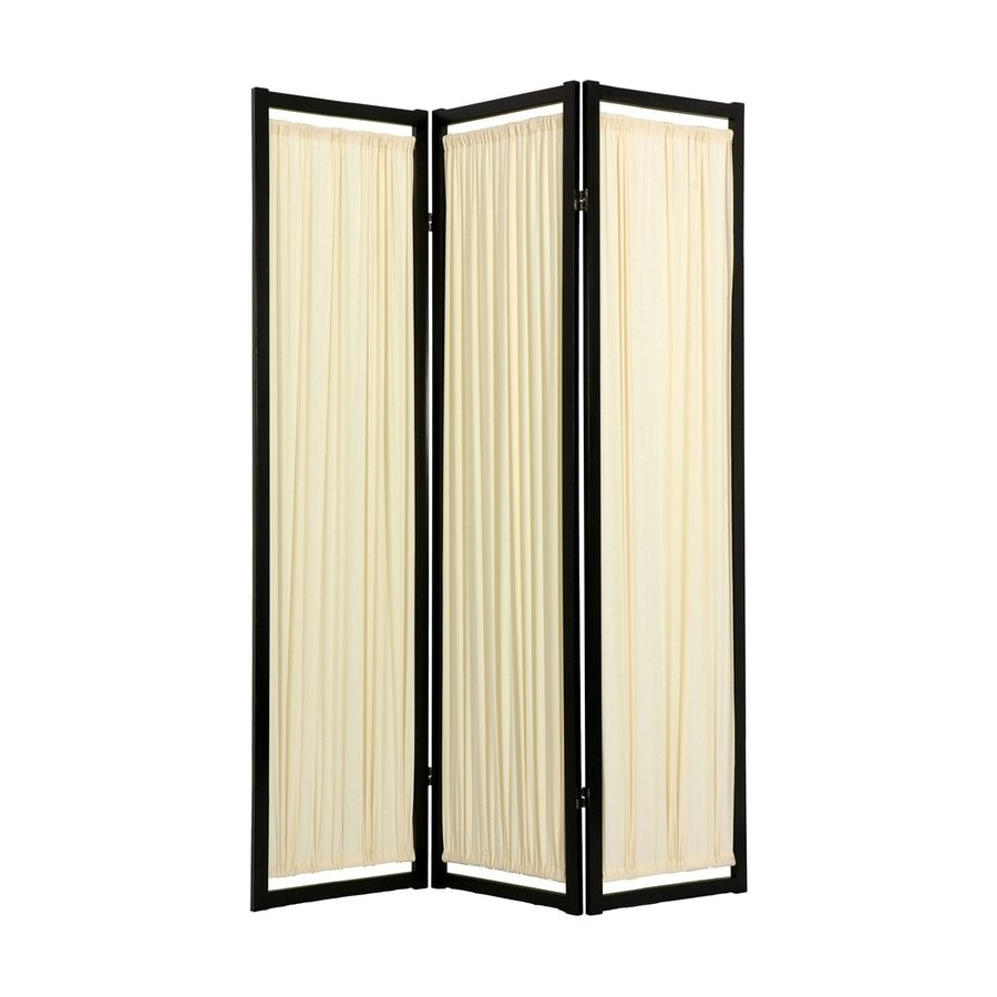 Shop oriental furniture helsinki 3 panel black wood and for Wood privacy screen panels