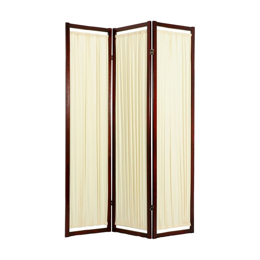 Oriental Furniture Helsinki 3-Panel Rosewood Wood and Paper Folding Indoor Privacy Screen