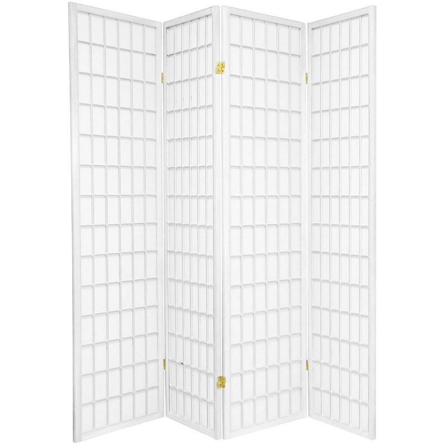 Oriental Furniture Window Pane 4-Panel White Wood and Paper Folding Indoor Privacy Screen