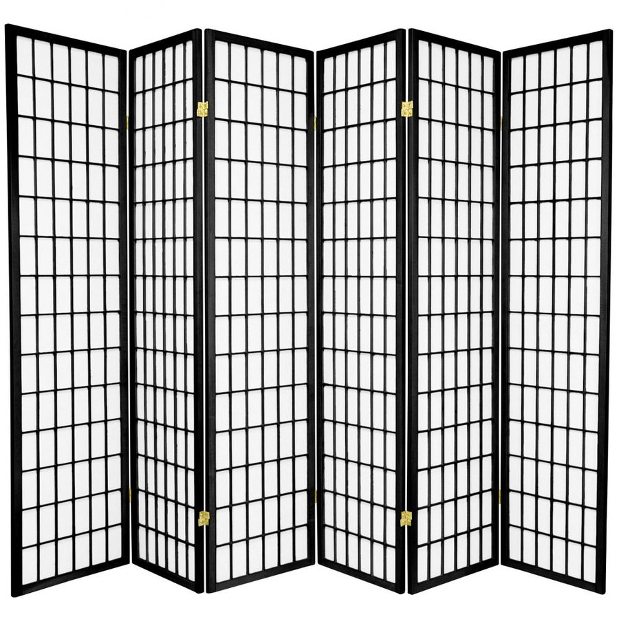 Oriental Furniture Window Pane 6-Panel Black Wood and Paper Folding Indoor Privacy Screen