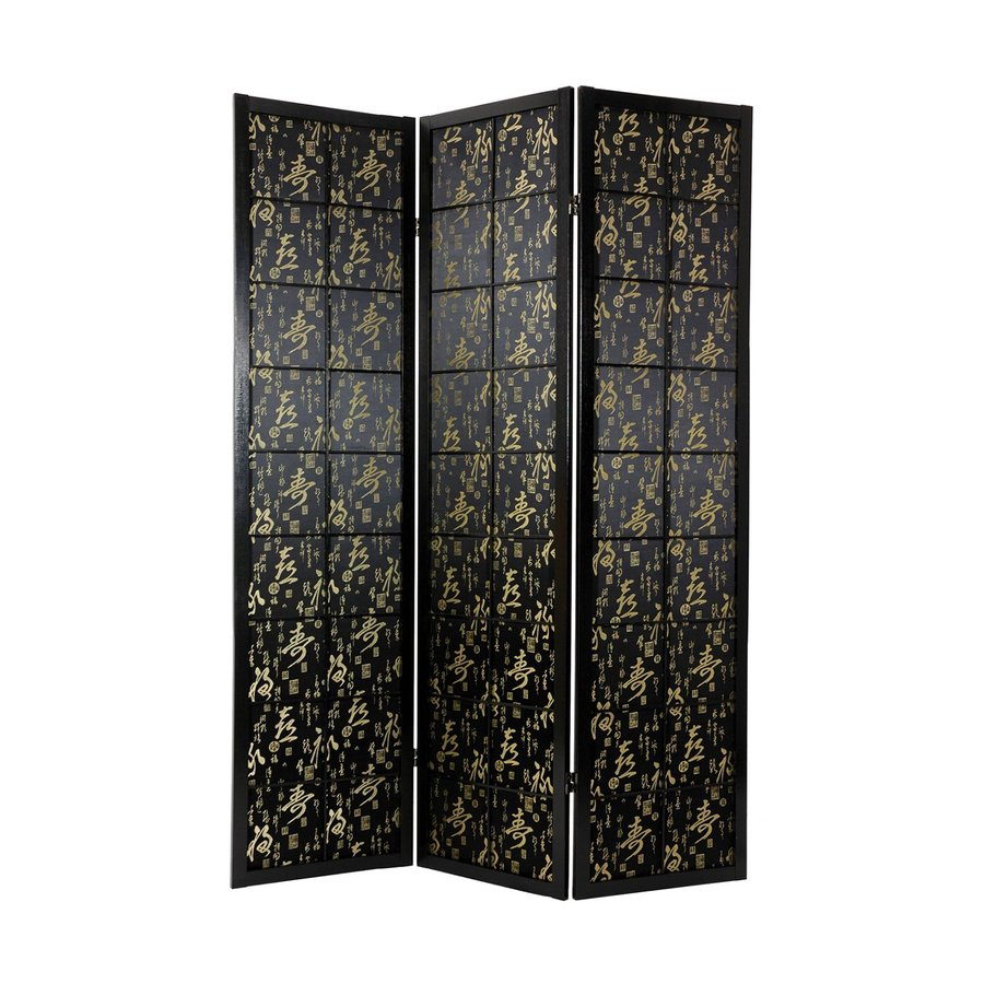 Oriental Furniture Feng Shui 3-Panel Black Wood and Fabric Folding Indoor Privacy Screen