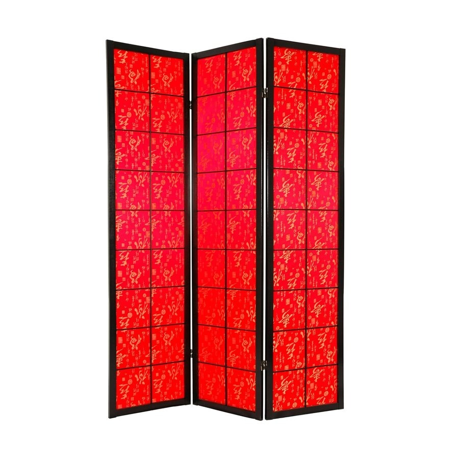Shop oriental furniture feng shui 4 panel red wood and for Wood privacy screen panels