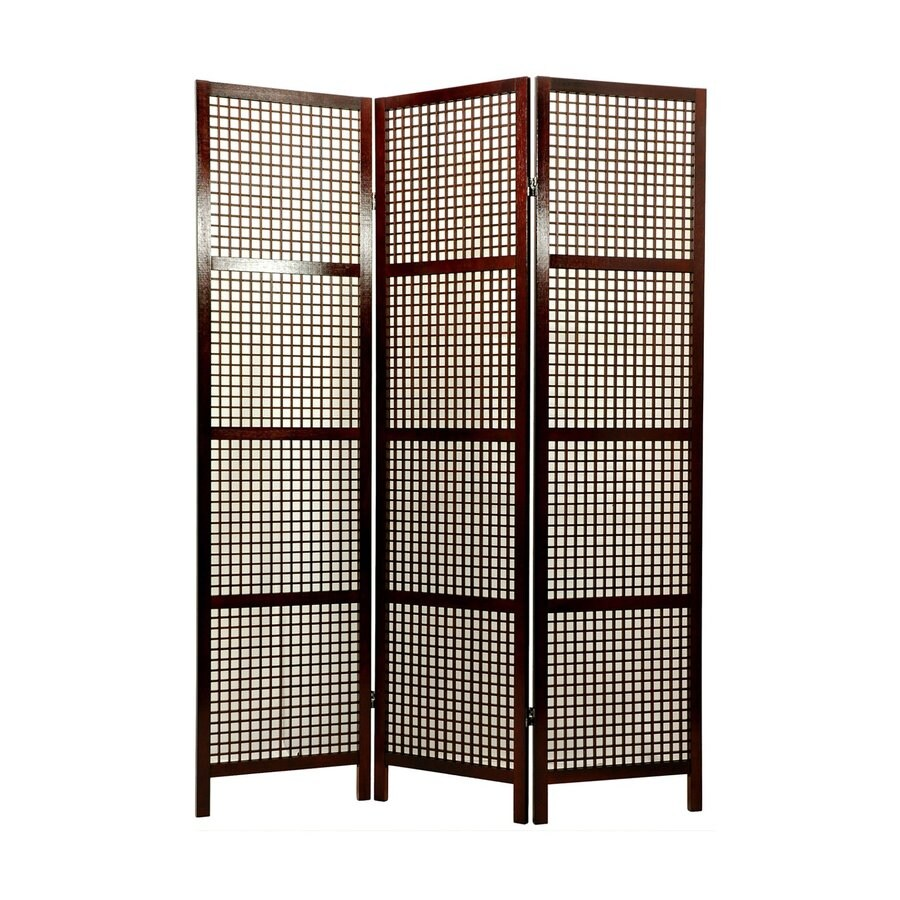 Oriental Furniture Miyagi 3-Panel Walnut Wood Folding Indoor Privacy Screen