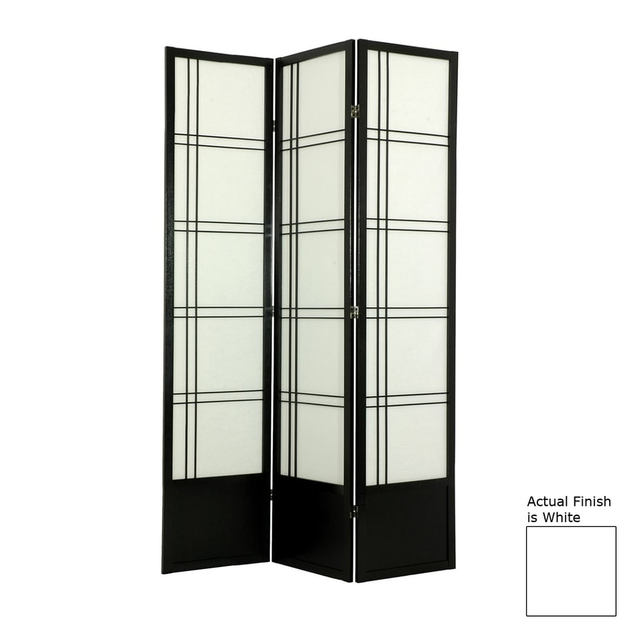 Oriental Furniture Double Cross 3-Panel White Wood and Paper Folding Indoor Privacy Screen