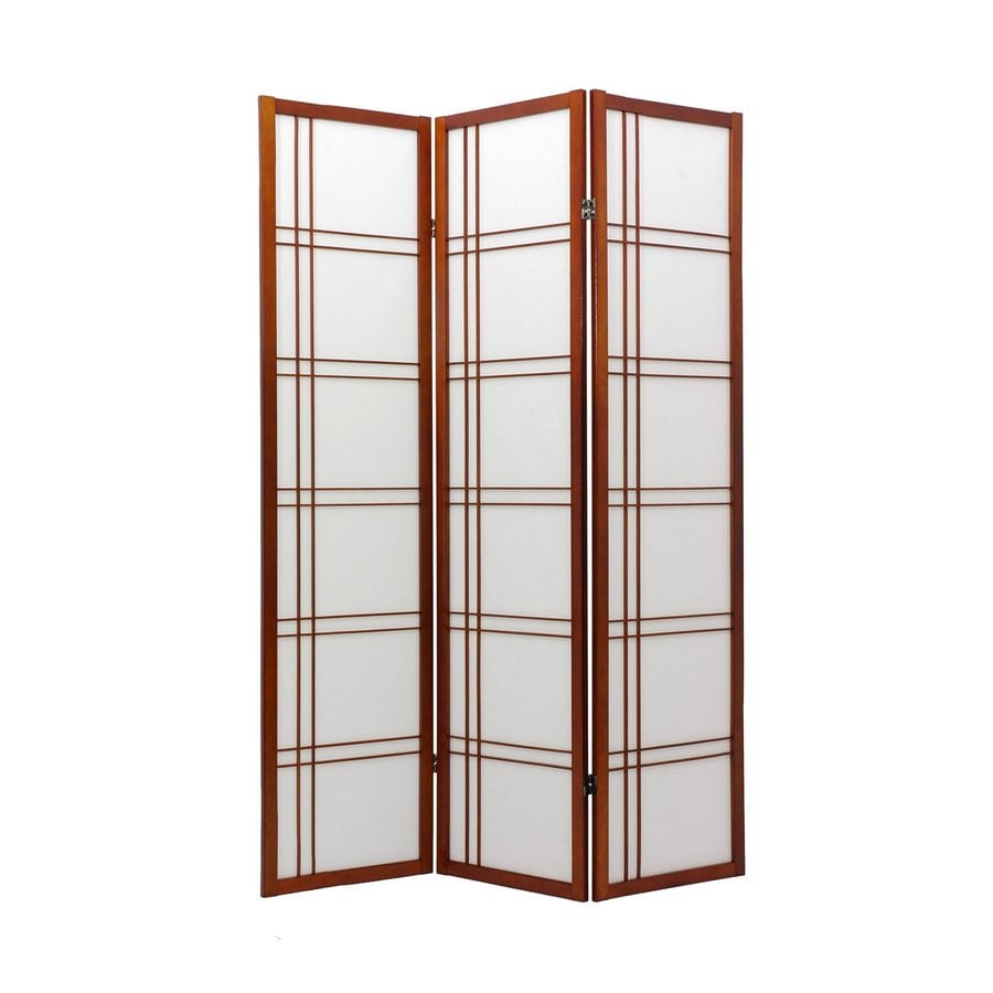 Oriental Furniture Double Cross 8-Panel Walnut Wood and Paper Folding Indoor Privacy Screen