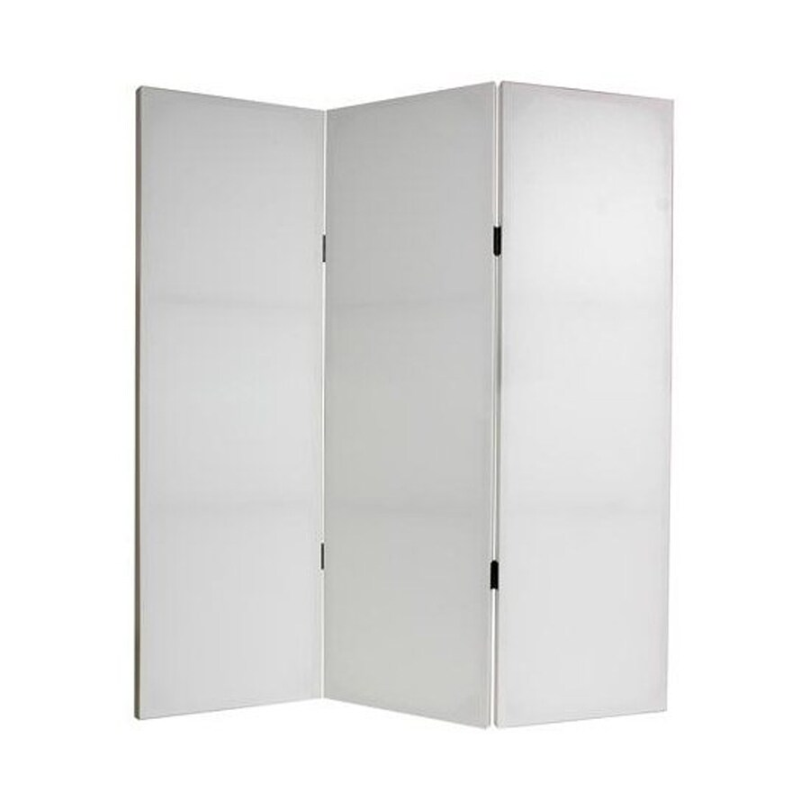Oriental Furniture Can Do It Yourself 3-Panel White Wood and Fabric Folding Indoor Privacy Screen
