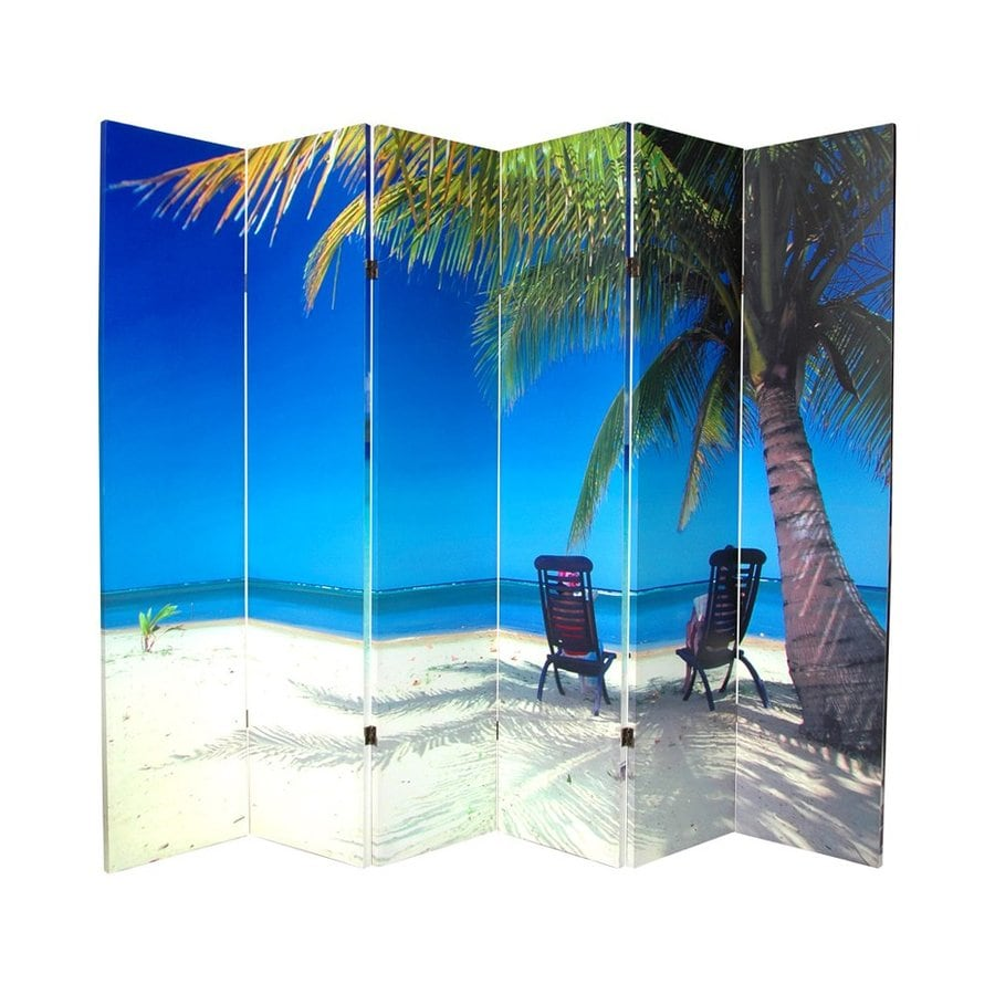 Oriental Furniture Ocean 6-Panel Multi Wood and Fabric Folding Indoor Privacy Screen
