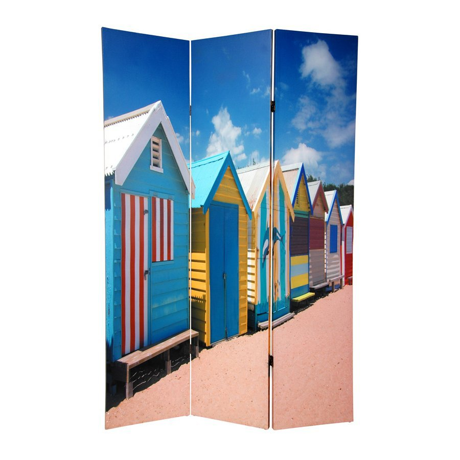Oriental Furniture Beach Cabana 3-Panel Multi Wood and Fabric Folding Indoor Privacy Screen