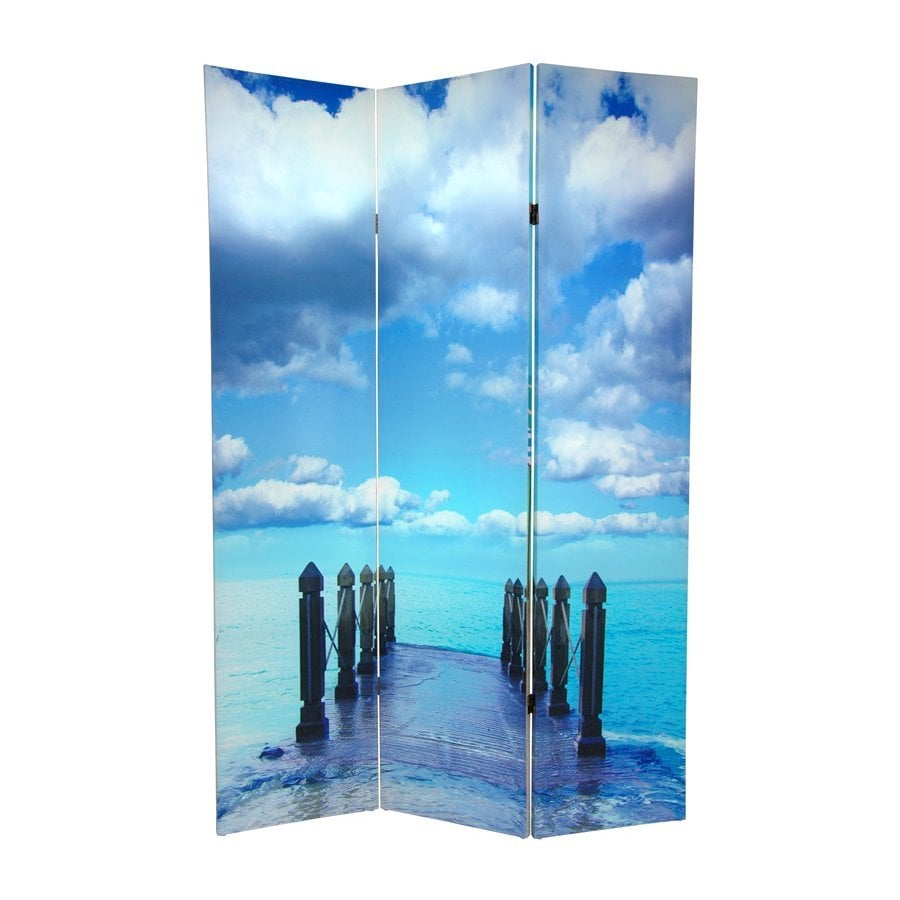 Oriental Furniture Ocean 3-Panel Multi Wood and Fabric Folding Indoor Privacy Screen
