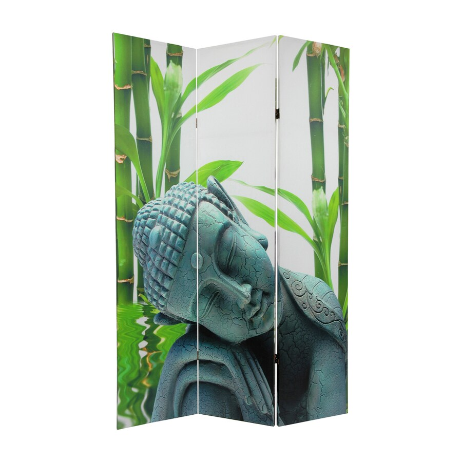 Oriental Furniture Serenity Buddha 3-Panel Multi Wood and Fabric Folding Indoor Privacy Screen