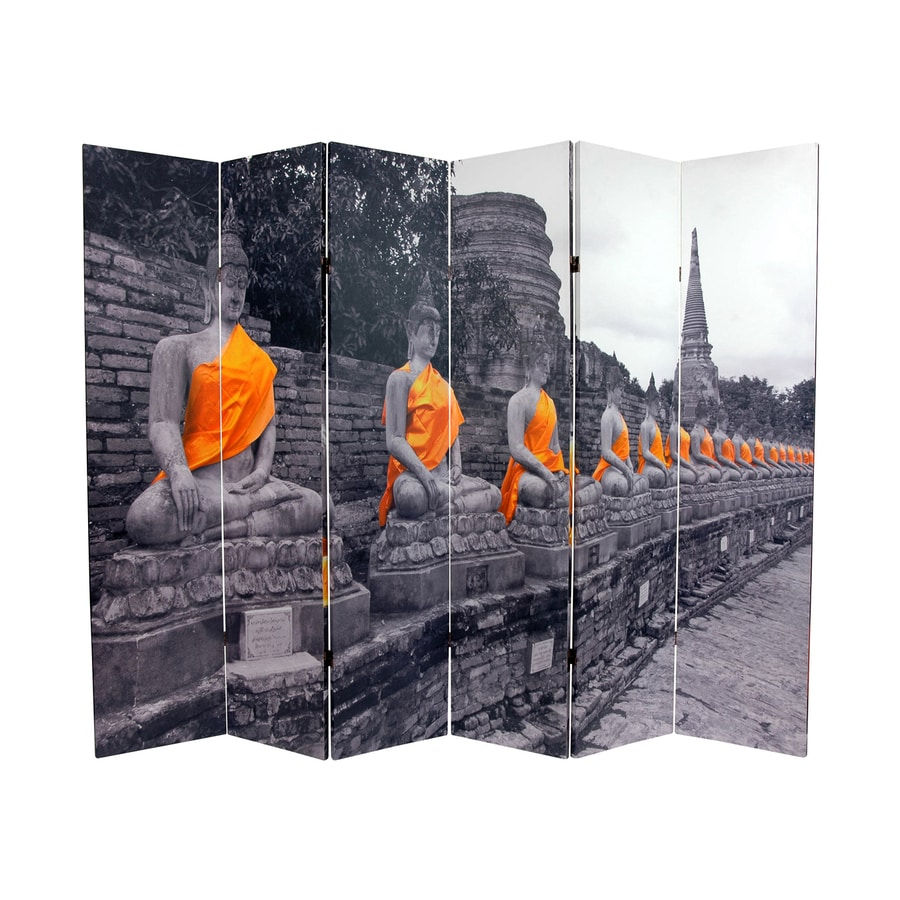 Oriental Furniture Golden Buddhas 6-Panel Multicolor Wood and Fabric Folding Indoor Privacy Screen