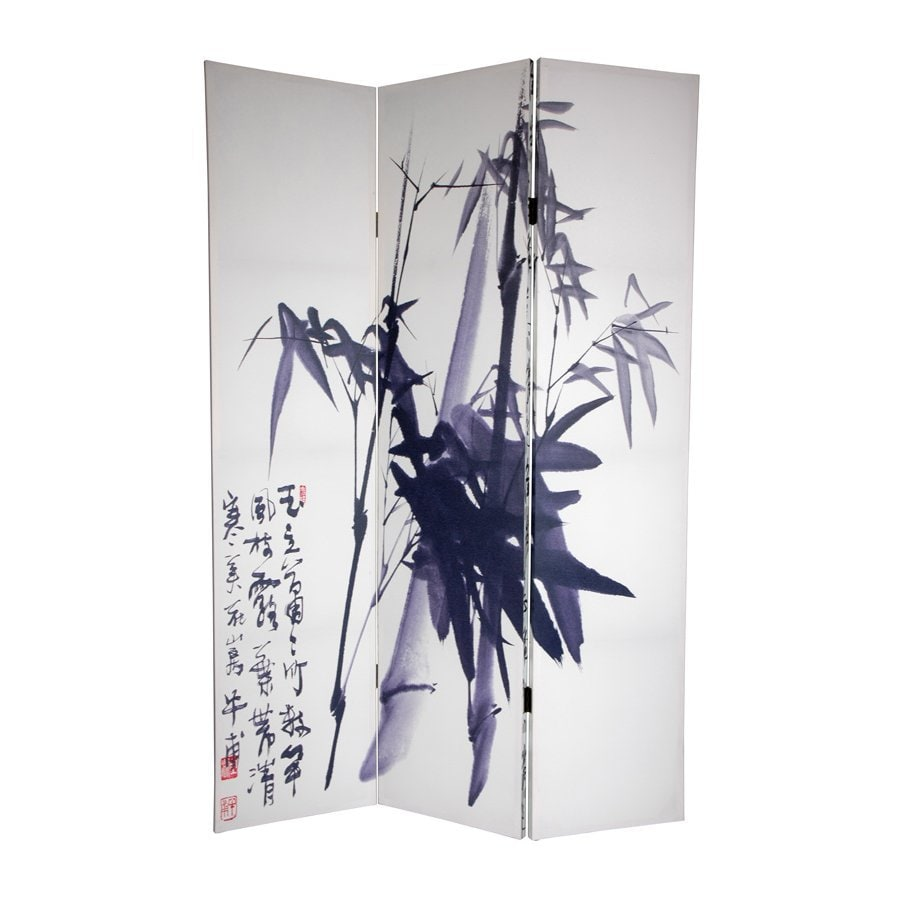 Oriental Furniture Calligraphy 3-Panel White Wood and Fabric Folding Indoor Privacy Screen
