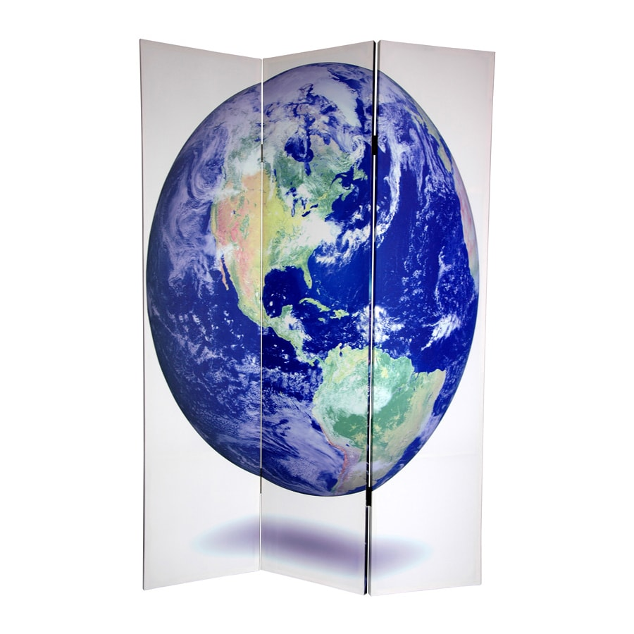 Oriental Furniture Earth 3-Panel Multi Wood and Fabric Folding Indoor Privacy Screen