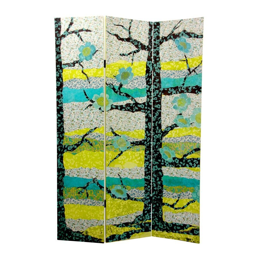 Oriental Furniture Sylvan Collage 3-Panel Wood and Fabric Folding Indoor Privacy Screen