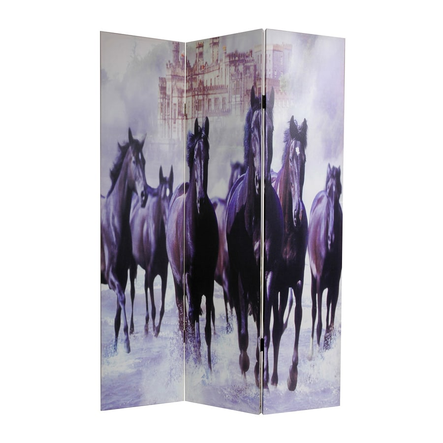 Oriental Furniture Horses 3-Panel Multi Wood and Fabric Folding Indoor Privacy Screen