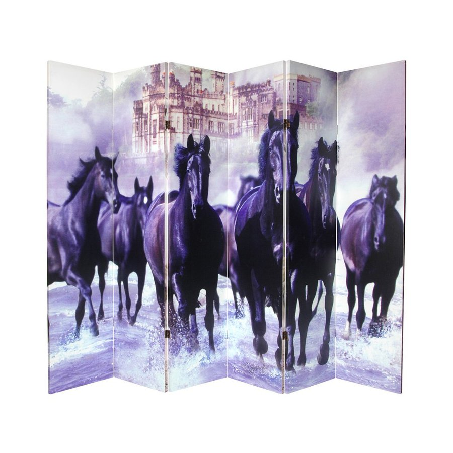 Oriental Furniture Horses 6-Panel Multicolor Wood and Fabric Folding Indoor Privacy Screen