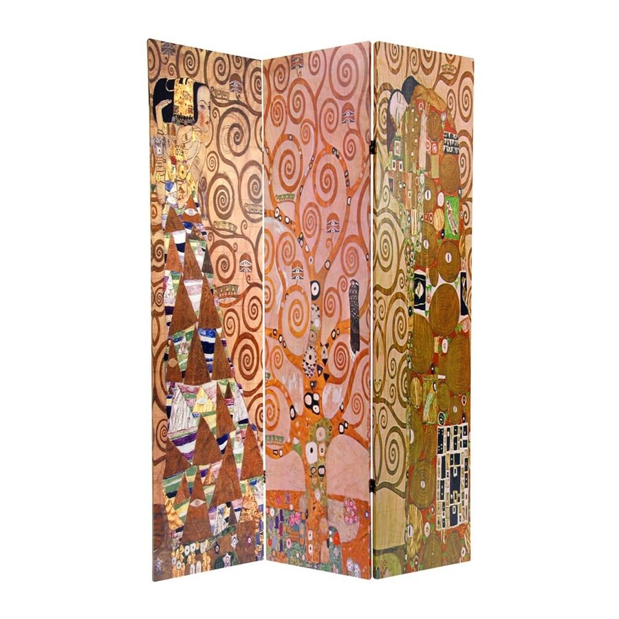 Oriental Furniture Works Of Klimt 3-Panel Multi Wood and Fabric Folding Indoor Privacy Screen
