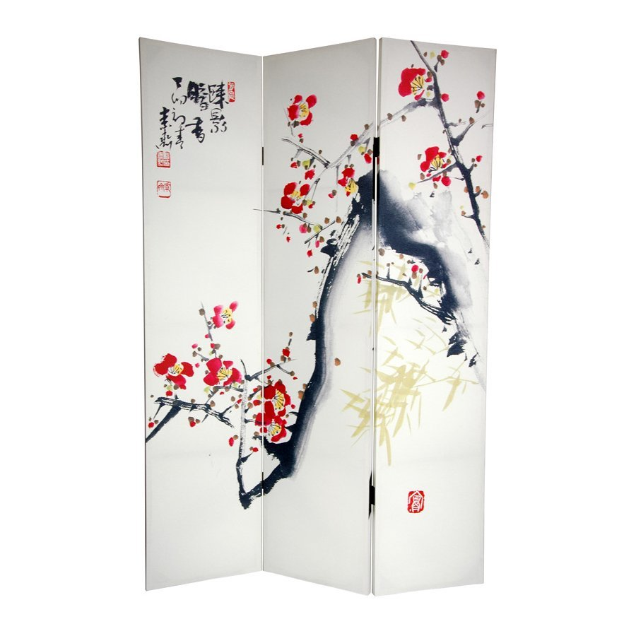 Oriental Furniture Cherry Blossoms and Love 3-Panel White Wood and Fabric Folding Indoor Privacy Screen