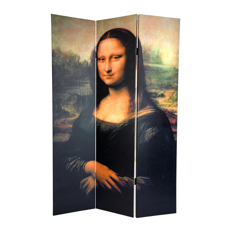 Oriental Furniture Lisa and Botticelli 3-Panel Multicolor Wood and Fabric Folding Indoor Privacy Screen
