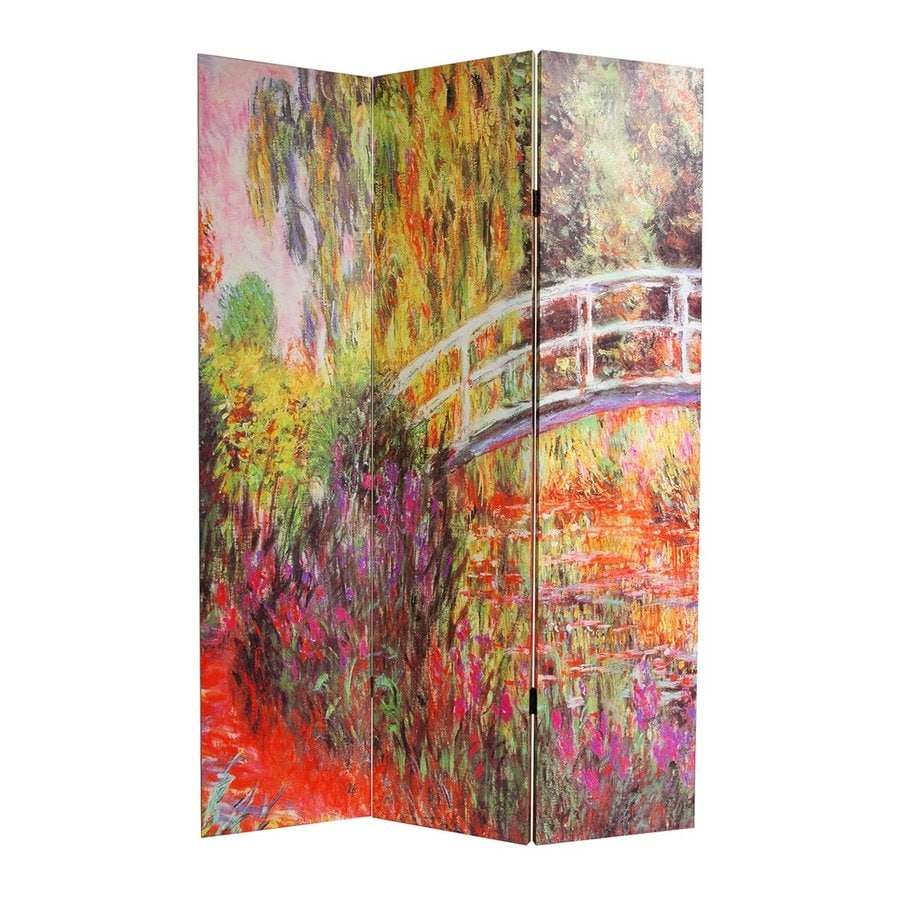Oriental Furniture Works Of Monet 4-Panel Multicolor Wood and Fabric Folding Indoor Privacy Screen