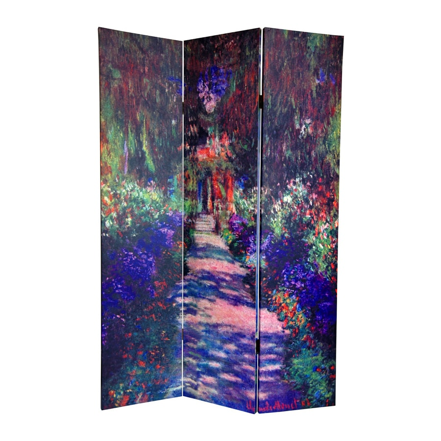 Oriental Furniture Works Of Monet 3-Panel Multi Wood and Fabric Folding Indoor Privacy Screen