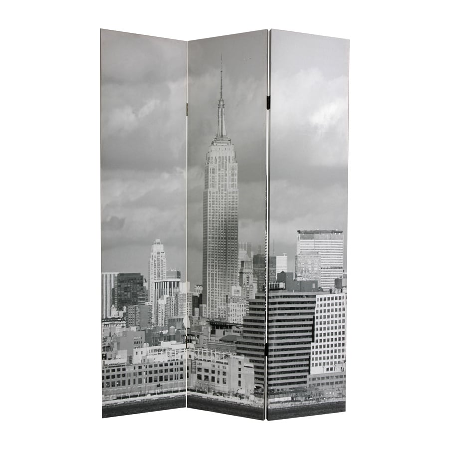 Oriental Furniture New York Scenes 3-Panel Gray Wood and Fabric Folding Indoor Privacy Screen