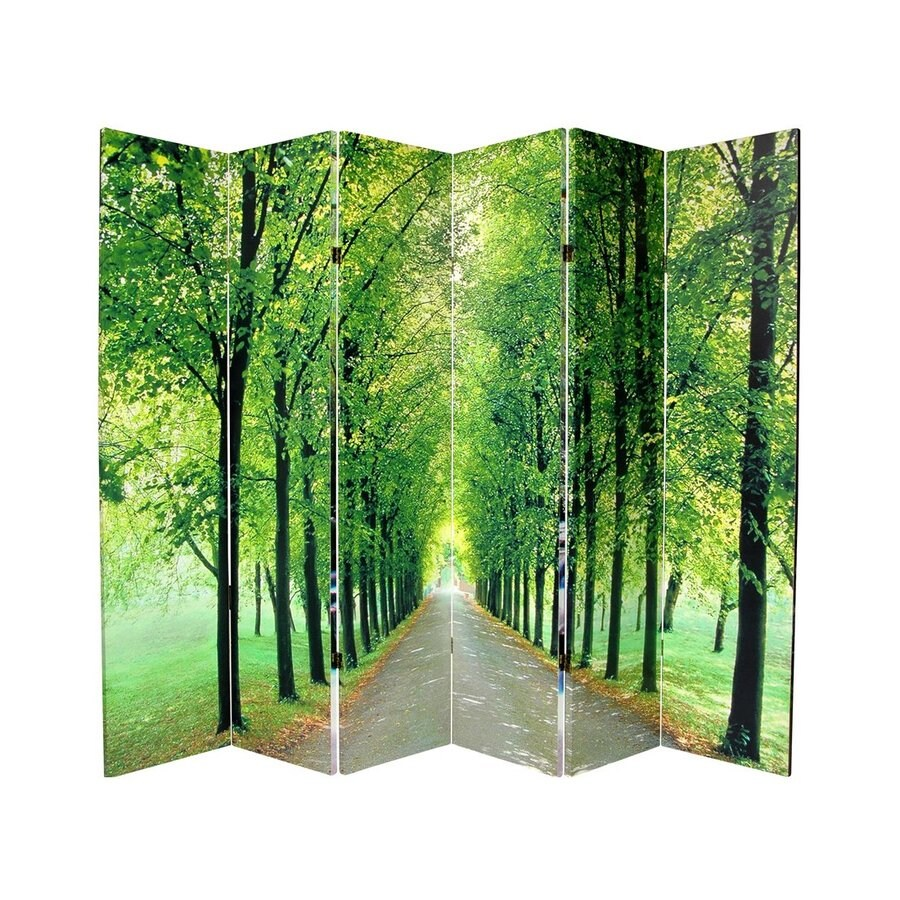 Oriental Furniture Path Of Life 6-Panel Green Wood and Fabric Folding Indoor Privacy Screen