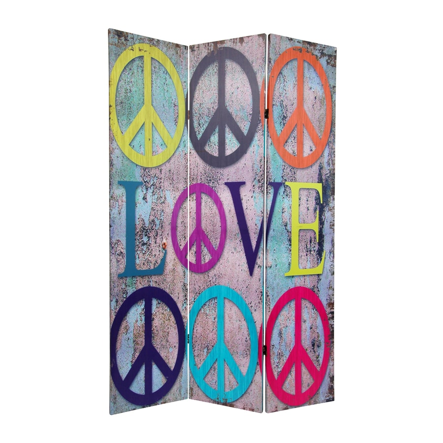 Oriental Furniture Peace and Love 3-Panel and Folding Indoor Privacy Screen