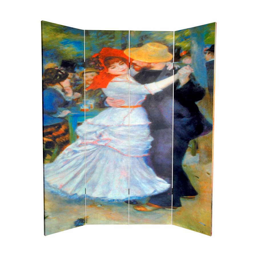 Oriental Furniture Dance At Bougival/Two Girls 4-Panel Wood and Fabric Folding Indoor Privacy Screen
