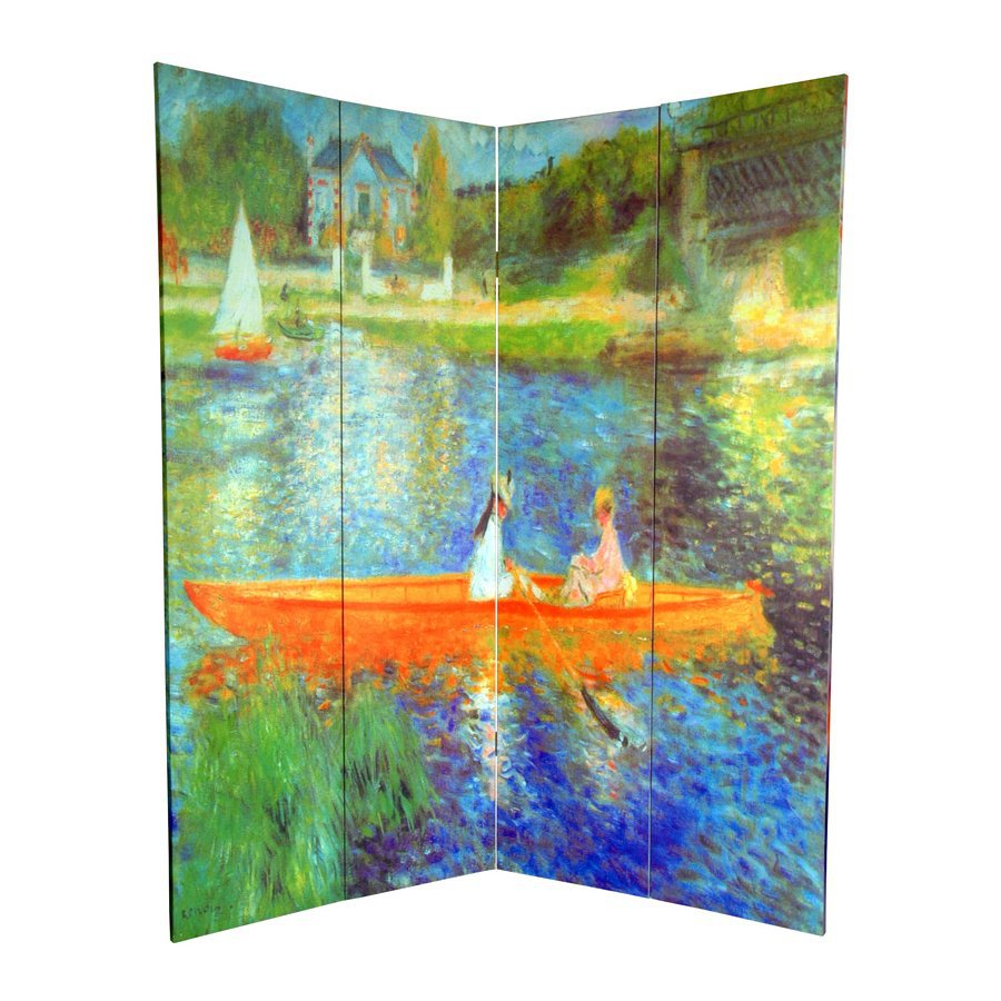 Oriental Furniture Works Of Renoir 4-Panel Multi Wood and Fabric Folding Indoor Privacy Screen