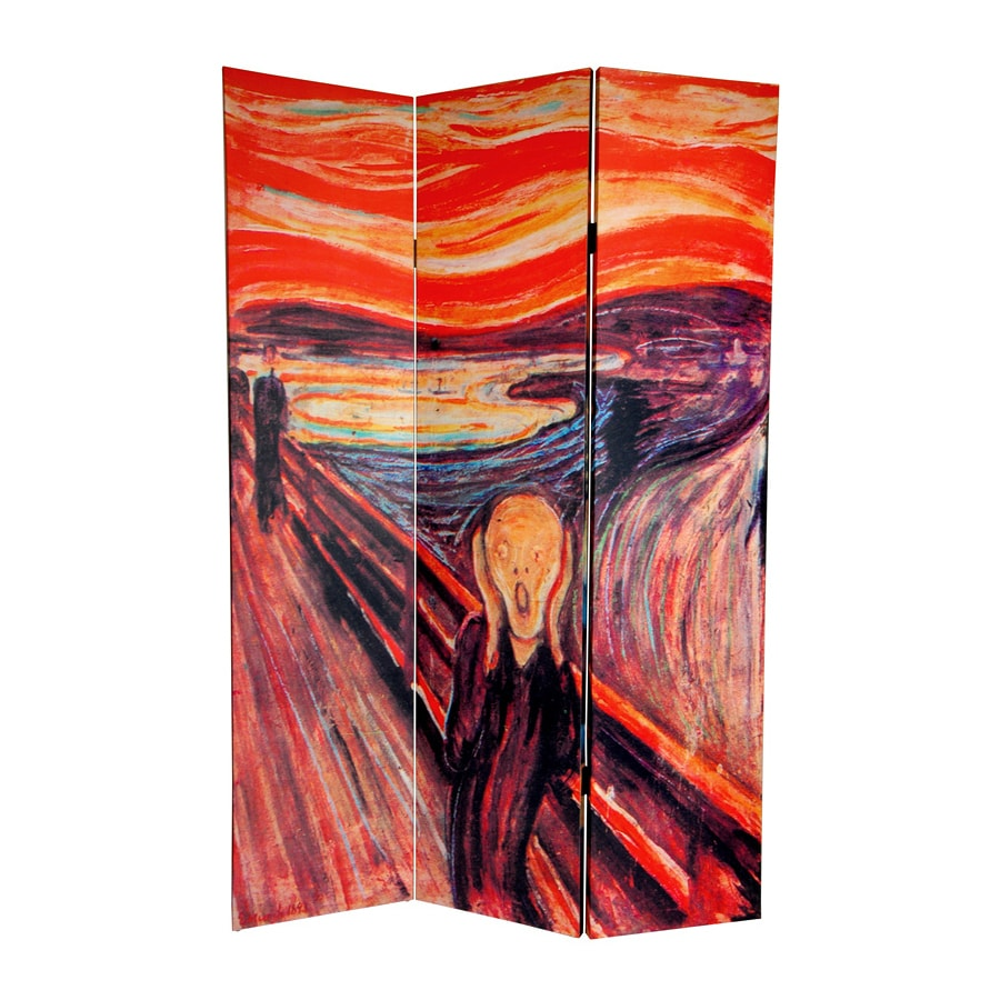 Oriental Furniture The Scream 3-Panel Multi Wood and Fabric Folding Indoor Privacy Screen