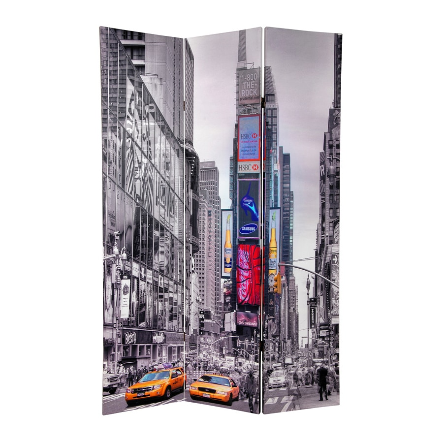 Oriental Furniture New York Taxi 3-Panel Multi Wood and Fabric Folding Indoor Privacy Screen