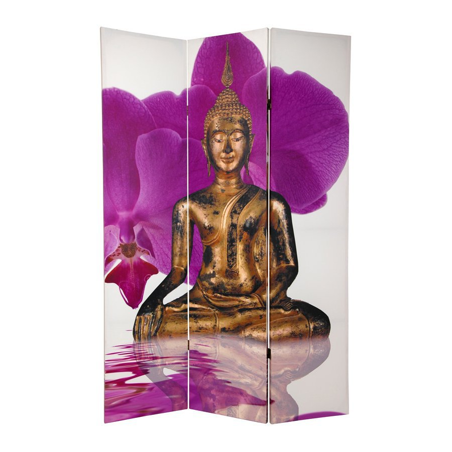 Oriental Furniture Thai Buddha 3-Panel Multi Wood and Fabric Folding Indoor Privacy Screen