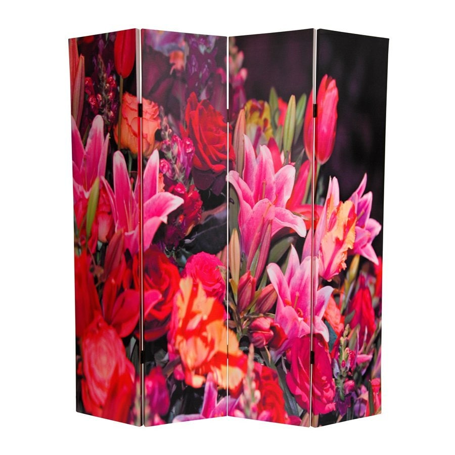 Oriental Furniture Spring Flowers 4-Panel Pink Wood and Fabric Folding Indoor Privacy Screen