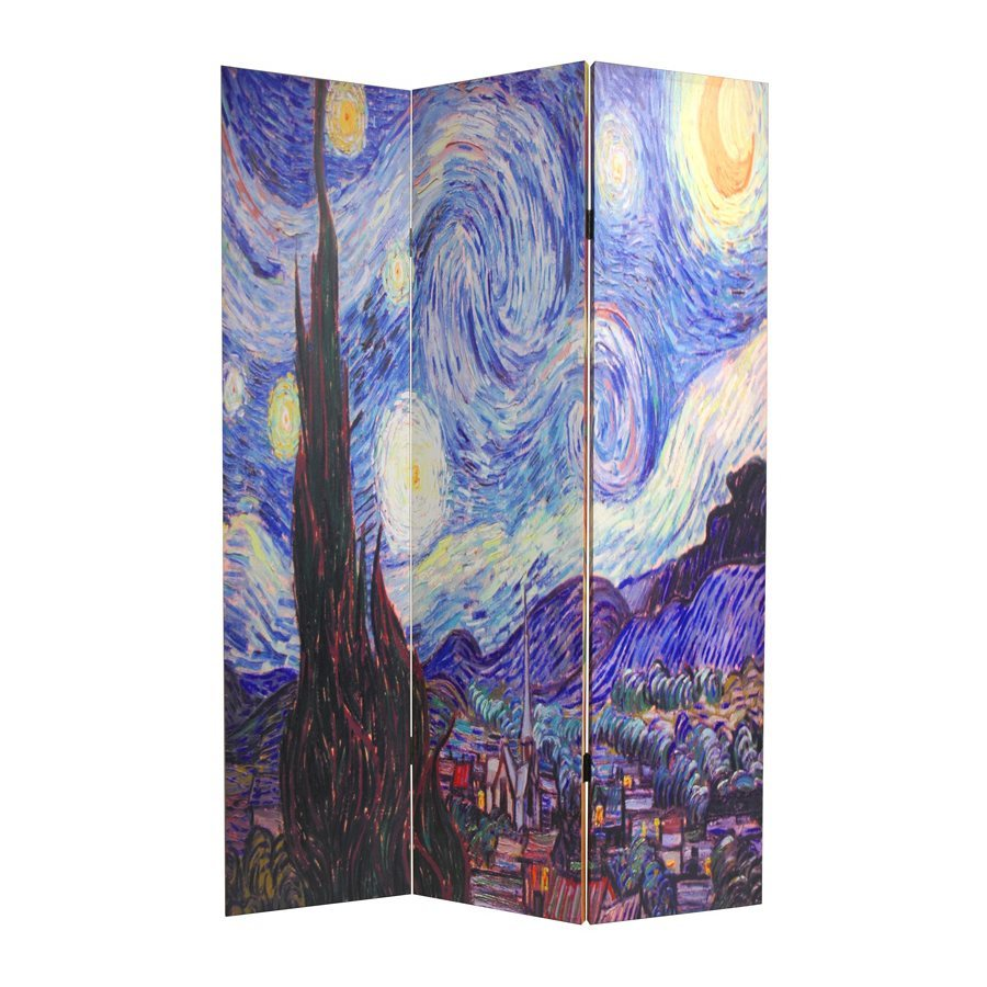 Oriental Furniture Works Of Van Gogh 3-Panel Multi Wood and Fabric Folding Indoor Privacy Screen