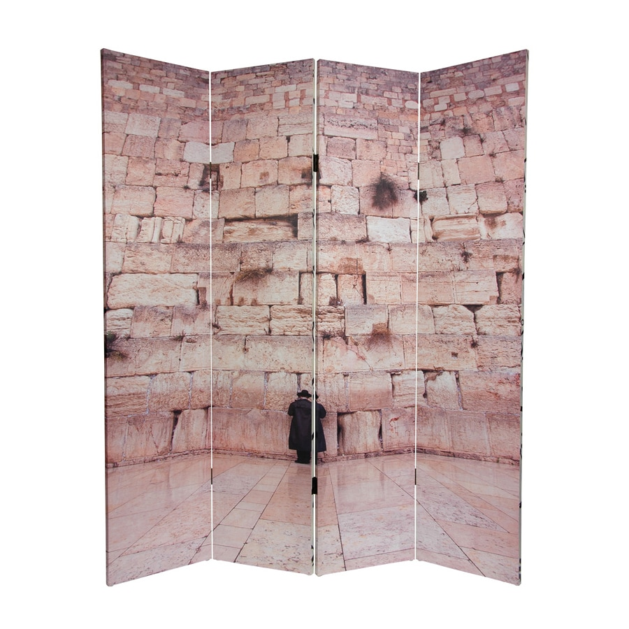 Oriental Furniture Wailing Wall 4-Panel Multi Wood and Fabric Folding Indoor Privacy Screen