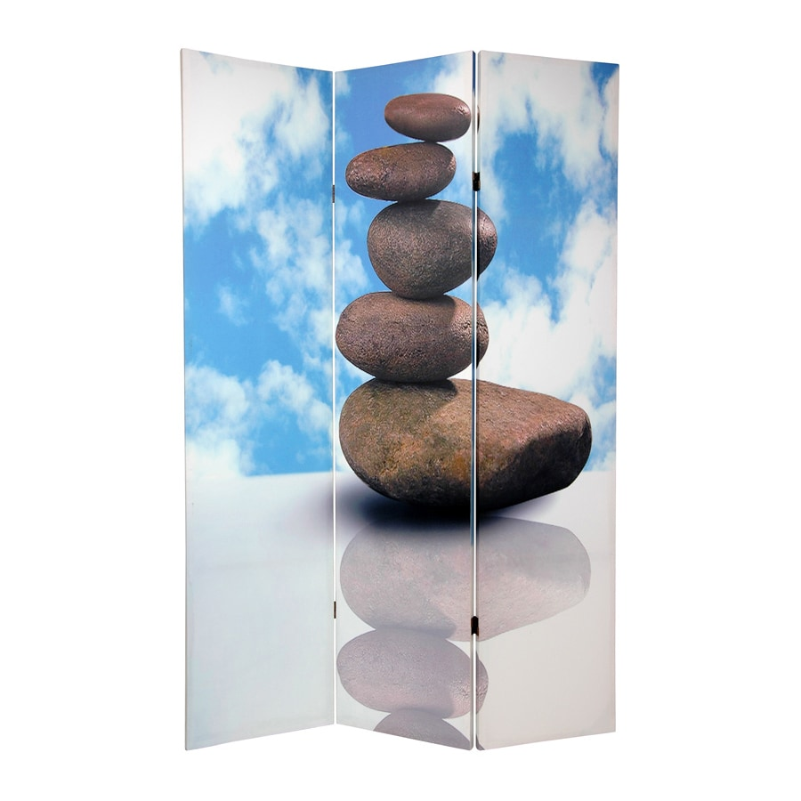 Oriental Furniture Zen 3-Panel Multi Wood and Fabric Folding Indoor Privacy Screen