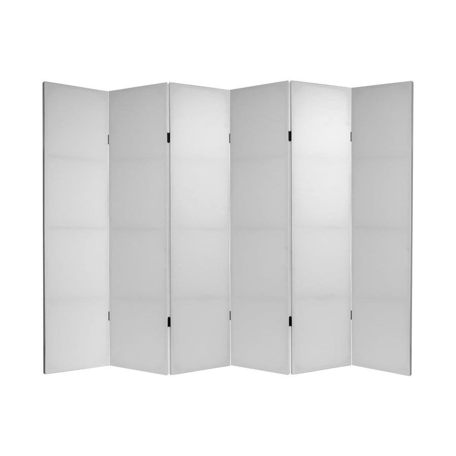 Oriental Furniture Diy 6-Panel White Wood and Fabric Folding Indoor Privacy Screen