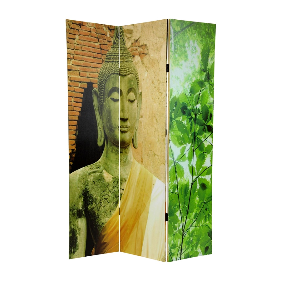Oriental Furniture Buddha 3-Panel Multi Wood and Fabric Folding Indoor Privacy Screen