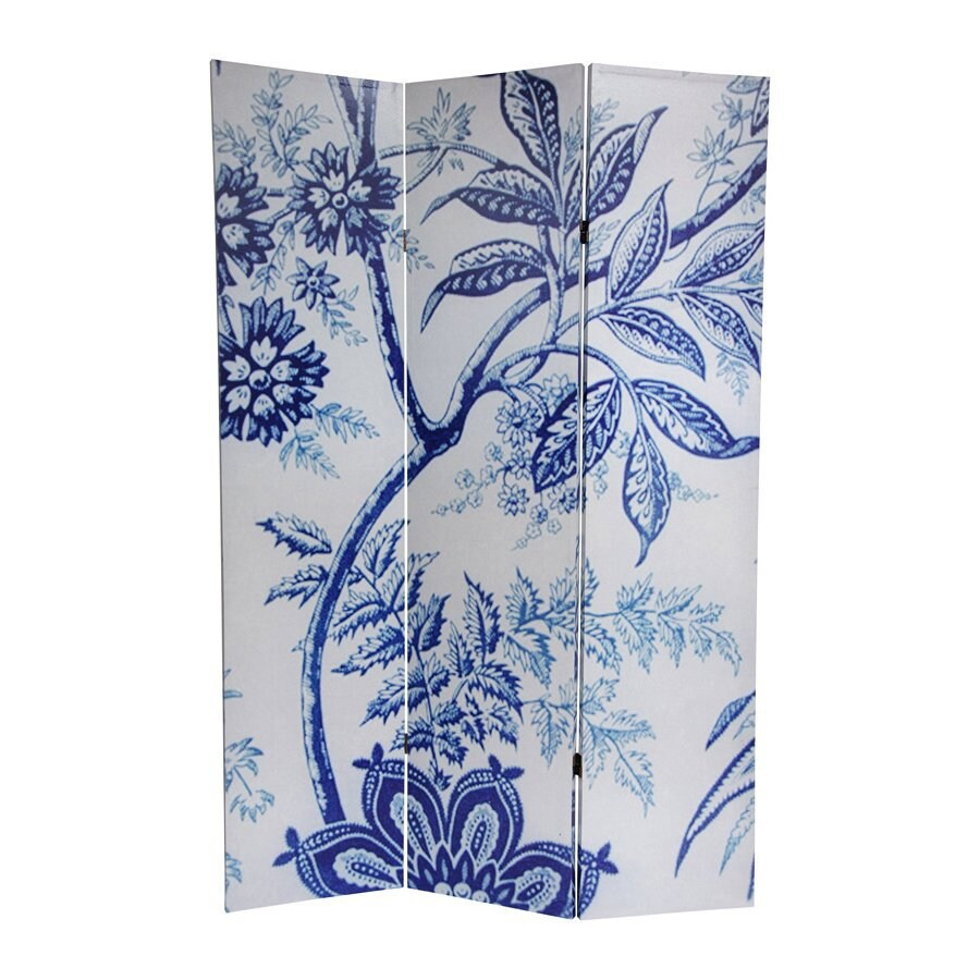 Oriental Furniture Floral 3-Panel Blue/White Wood and Fabric Folding Indoor Privacy Screen