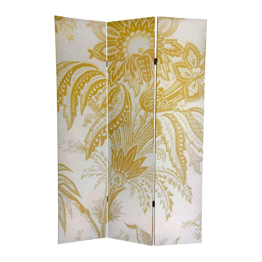 Oriental Furniture Floral 3-Panel Yellow/White Wood and Fabric Folding Indoor Privacy Screen